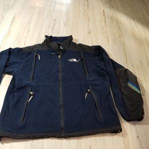 North face zip coat jacket men Med fleece navy